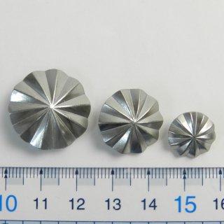 [3個入]アポロ型コンチョボタンまとめて3サイズ/23mm・19mm・13mm/色:ZN/素材:ハイキャスト/足つき/レザークラフト・皮革雑貨などの飾り用に