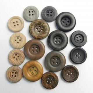 [16個入]ウッドボタンお得な詰め合わせ/素材:木材・合板/20mm〜25mm/4穴/ハンドメイド雑貨やカジュアルニット、手芸にピッタリ