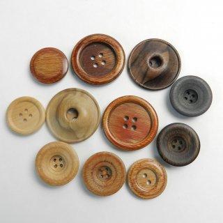 [11個入]まとめてお得!ウッドボタン詰め合わせ/素材:木材・合板/21mm〜30mm/2穴・4穴/ハンドメイド雑貨やカジュアルニット、編み物、手芸に