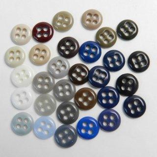 [30個入]ランダムカラーの力ボタンお得な詰め合わせ/10mm/4穴/コートやジャケット補強用の裏ボタン。ミニサイズ