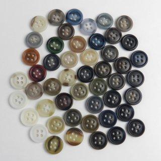 [49個入]大量でお得なランダムカラーのボタン詰め合わせ/素材:UF(ユリア)/15mm/4穴/ハンドメイドや手芸・雑貨に