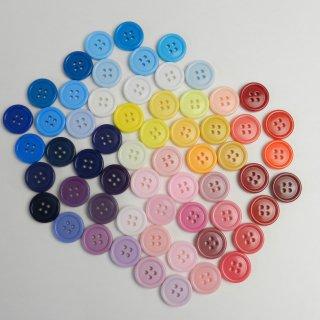[60個入]大量でお得な60色のツヤ有カラフルボタン詰め合わせ/15mm/4穴/ハンドメイドや編み物・手芸・雑貨に