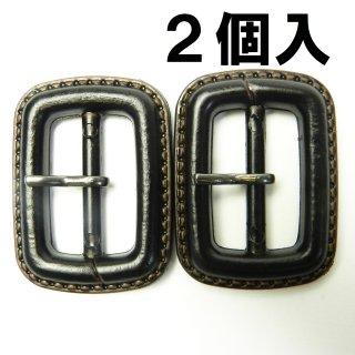 【現品限り】皮革風のこげ茶色系ピン付バックル2個セット/内径25mm/本体:プラスチック系/ピン:メタル系/コスプレ・コートに最適