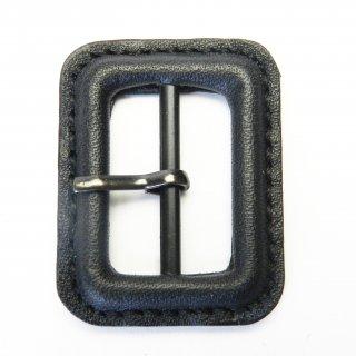 本革の黒色系ピン付バックル/内径25mm/本体素材:皮革/ピン素材:メタル系/トレンチコート・スプリングコート・コスプレに最適