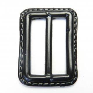 皮革風の黒色系バックル/内径32mm/素材:プラスチック系/コート・ハンドメイド・手芸・コスプレに最適