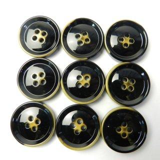 ヴィンテージ風の黒色系ボタン/23mm/4穴/コートに最適