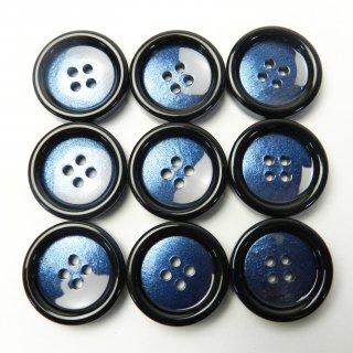 黒色太縁の青色系ボタン/23mm/4穴/コートに最適