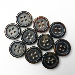 こげ茶色系水牛ボタン/15mm/4穴/スーツやジャケットの袖口・カーディガンに最適