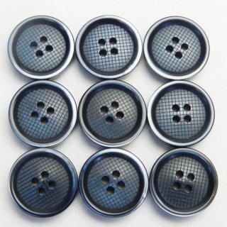 縁にグラデーションが入った格子柄模様のネイビー色プラスチックボタン/15mm/4穴/ジャケット袖口・カーディガンに最適