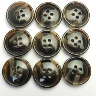 こげ茶色系の水牛調ボタン/20mm/4穴/スーツやジャケットに最適