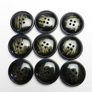 模様入りのレンズ型黒色系ボタン/28mm/4穴/コートに最適