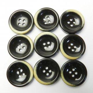 本焼き加工のこげ茶色系プラスチックボタン/23mm/4穴/コートに最適