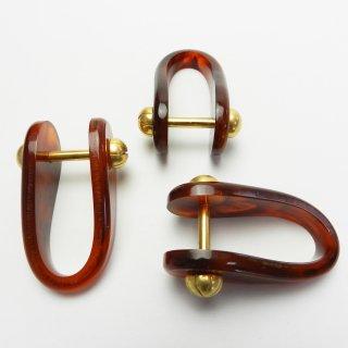 [1個入]ゴールド金具と琥珀色系のハンドルホルダー(押さえ)/65mm/かごバッグなどの持ち手連結部として最適