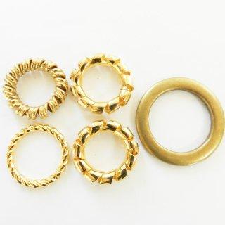 ゴールドのスカーフ留め4種類セット/内径18・23・30mm/手作り雑貨やバッグチャームなどに最適
