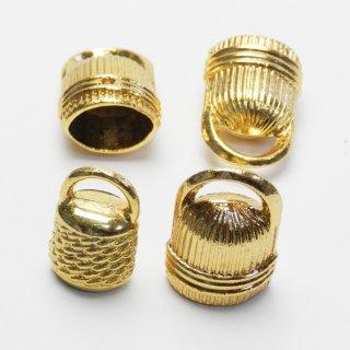 【4個入】ゴールドのタッセル用金具大小2種類セット/バッグチャームや手作り雑貨に最適