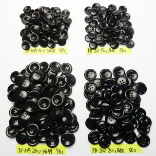 [264個入]黒色ボタン・茶色系ボタン まとめてお得な4種類詰め合わせ/15・20mm/4穴/ジャケットやスーツなどに最適