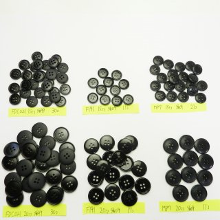 [120個入]黒色系ボタン まとめてお得な6種類詰め合わせ/15・20mm/4穴/ジャケットやスーツなどに最適