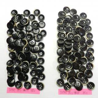 [174個入]焼き加工黒色系・こげ茶色系プラスチックボタン まとめてお得な2種類詰め合わせ/18mm/4穴/カーディガンなどに最適
