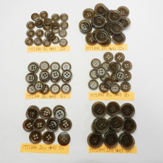 [115個入]波紋状の模様入り茶色系ボタン まとめてお得な6種類詰め合わせ/15・18・20・23mm/4穴/ジャケットやコートなどに最適