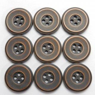 メタル調のアンティークブロンズ色系プラスチックボタン/20mm/4穴/ジャケットなどに最適