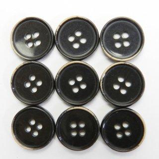 焼き加工の茶色系プラスチックボタン/15mm/4穴/ジャケットやスーツ上着の袖口・カーディガンに最適