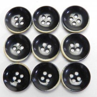 焼き加工の黒色プラスチックボタン/18mm/4穴/カーディガンに最適