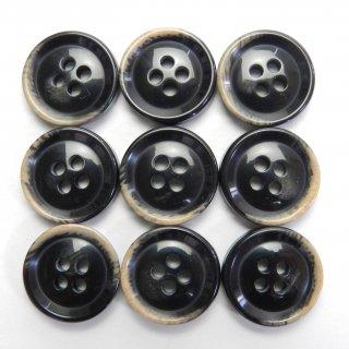 焼き加工の黒色プラスチックボタン/15mm/4穴/ジャケットやスーツ上着の袖口・カーディガンに最適