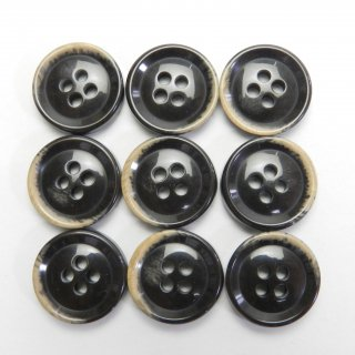 焼き加工茶色系プラスチックボタン/15mm/4穴/ジャケットやスーツ上着の袖口・カーディガンに最適