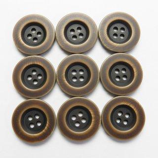 真ん中が窪んだビンテージ風こげ茶色系ミリタリーボタン/20mm/4穴/スーツやジャケットに最適