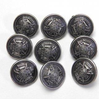 エンブレム柄のシルバー系メタルボタン/15mm/足つき/ハンドメイド雑貨やジャケットに最適