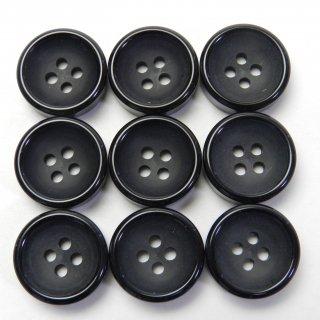 黒色プラスチックボタン/15mm/4穴/ジャケットやスーツ上着の袖口・カーディガンに最適