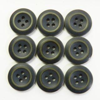真ん中が丸く窪んだビンテージ風の灰緑色系ミリタリーボタン/20mm/4穴/ジャケットやハンドメイドに最適