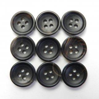 黒色系水牛ボタン/14mm/4穴/スーツやジャケットの袖口・カーディガンに最適