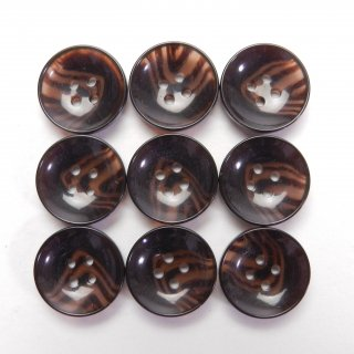 ツヤありこげ茶色系水牛調ボタン/13.5mm/4穴/カジュルシャツやカーディガン、ニットに最適