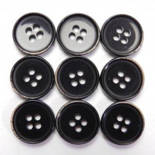 焼き加工の黒色系プラスチックボタン/15mm/4穴/ジャケットやスーツ上着の袖口・カーディガンに最適