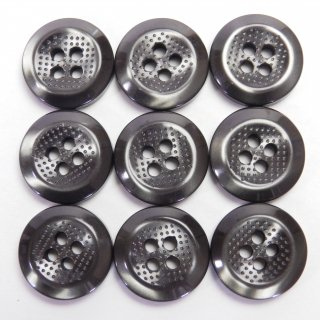 ドット模様入のグレー系ボタン/15mm/4穴/上着やジャケットの袖口・ニット・手芸に最適