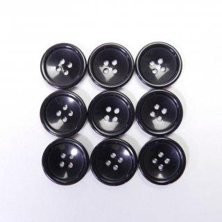 ツヤあり黒色系ボタン/15mm/4穴/上着やジャケットの袖口、カーディガン、ニット、手芸に最適
