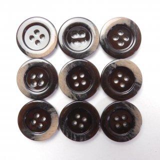 縁に模様入りのこげ茶色系プラスチックボタン/20mm/4穴/ジャケット・上着・カーディガン・手芸に最適
