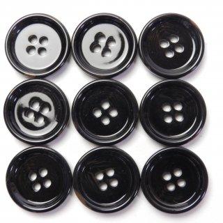 黒地に茶色系の水牛調ボタン/20mm/4穴/上着・ジャケット・カーディガンに最適