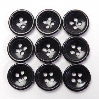 ツヤのある黒色ボタン/15mm/4穴/上着やジャケットの袖口、カーディガン、ニット、手芸に最適