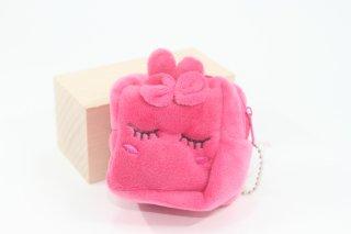 キューブうさぎのミニポーチ(ピンク・ブラッ)