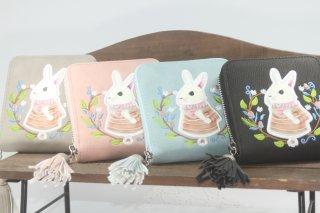 うさぎ絵柄の二つ折れ財布 (グレー・ピンク・ブルー・ブラック)