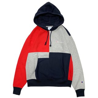 CHAMPION REVERSE WEAVE COLOR BLOCK PULLOVER HOODY  NAVY RED