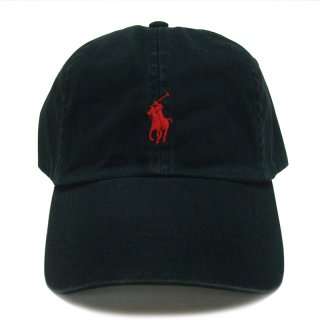 POLO RALPH LAUREN 6 PANEL CAP BLACK RED