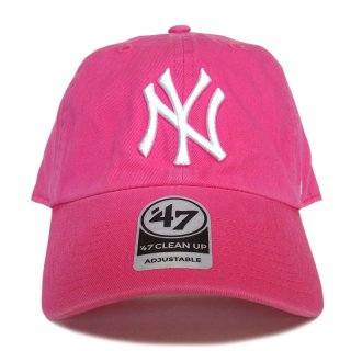 """'47 BRAND """"NEW YORK YANKEES"""" CLEAN UP TWILL CAP PINK"""