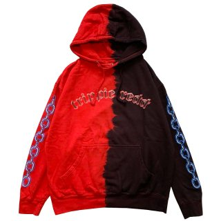 TRIPPIE REDD 3D ! CHAINS SPLIT DYE HOODIE BLACK RED