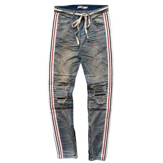 EPTM. STRIPE-SPLATTER TAPED DENIM LIGHT INDIGO