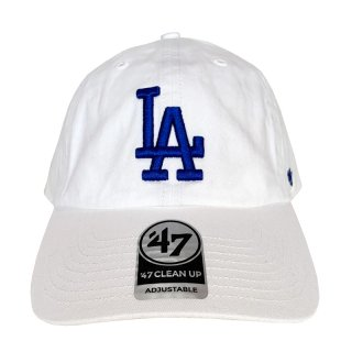 """'47 BRAND """"LOS ANGELS DODGERS"""" CLEAN UP TWILL CAP WHITE"""