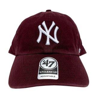 "'47 BRAND ""NEW YORK YANKEES"" CLEAN UP TWILL CAP BURGUNDY"