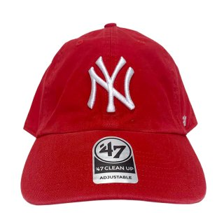 """'47 BRAND """"NEW YORK YANKEES"""" CLEAN UP TWILL CAP RED"""
